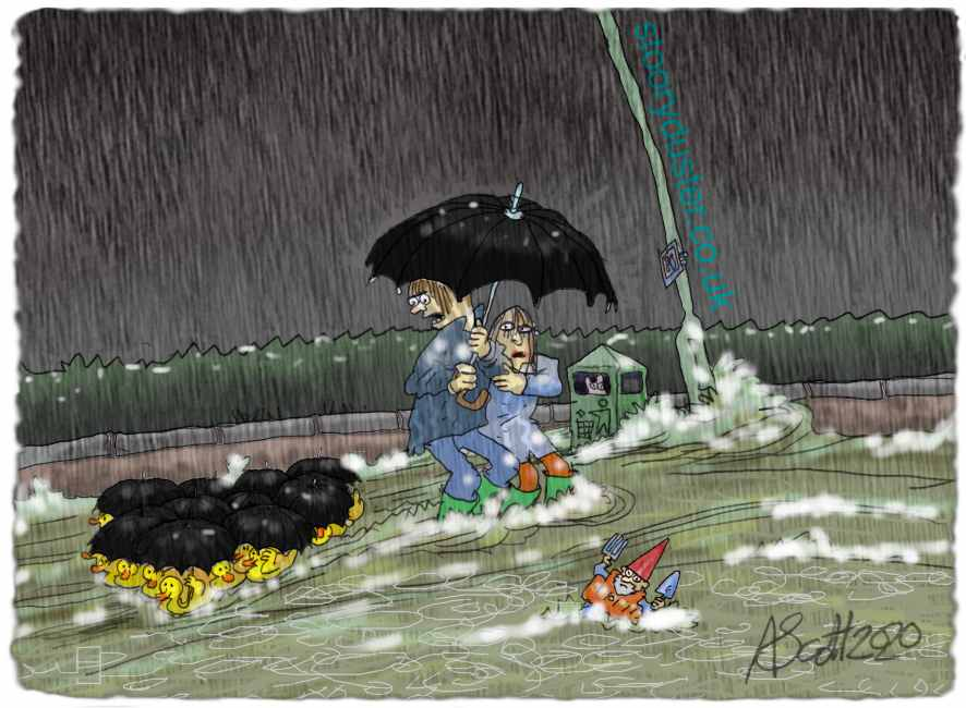Flotilla of ducks sail past under a roof of umbrellas as a couple wade against the torrent on the road.
