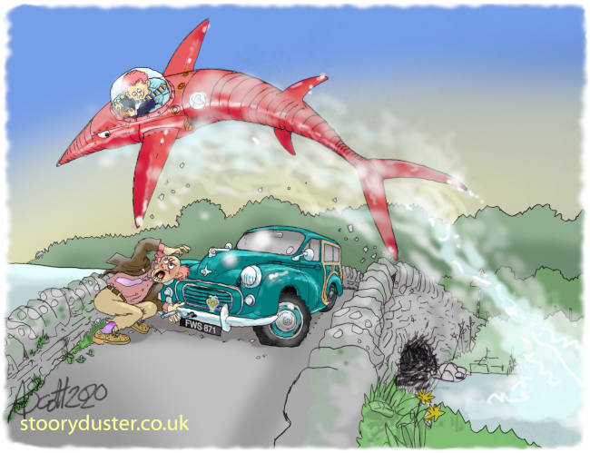 Danny Gray in his red mechanical swordfish in the comic strip Iron Fish