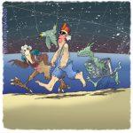 A man and three creatures run along an alien beach under the stars.