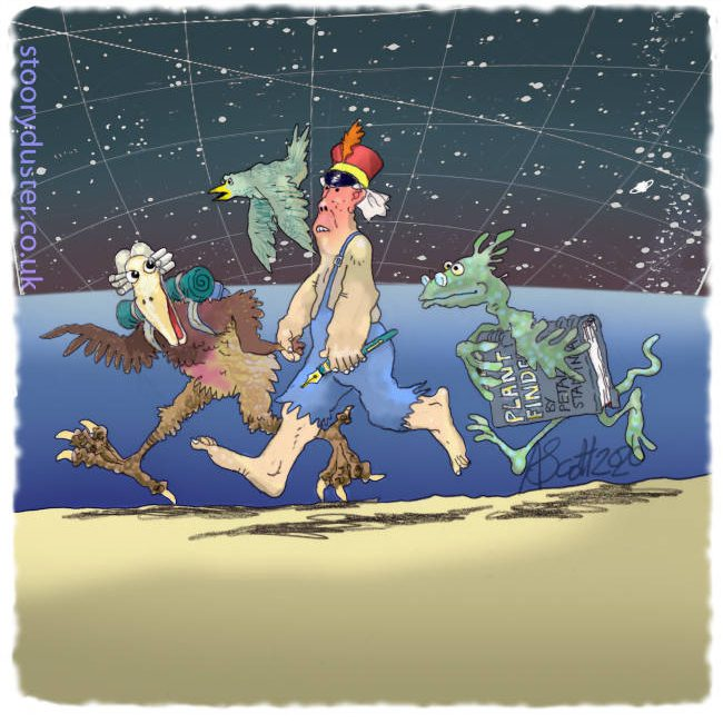 A man and three creatures run along an alien beach under the stars.