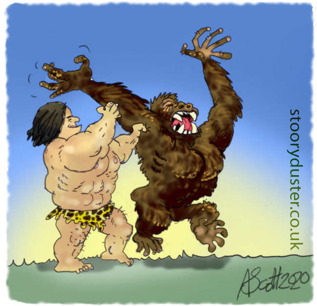Tarzan Jock, the apeman has the great ape in a forearm death grip at his mercy while tickling its armpit.