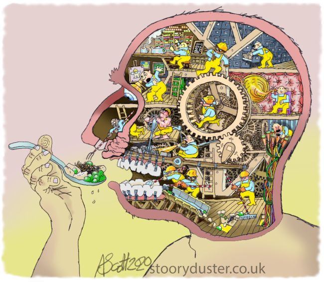 Cutaway drawing showing small figures busy operating treadmill level technology inside a head.
