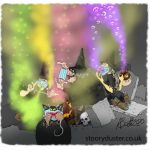 Three witches at a cauldron creating all sorts of coloured smoke and fumes.