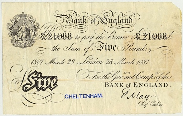 Bank of England 1887 £5 banknote