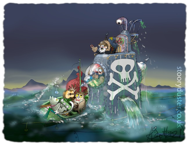 The Owl and the Pussycat in their pea green boat meet the Submarine Pirates who are surfacing suddenly from right underneath them.