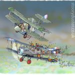 One pilot in a World War One biplane drops haggises on another.