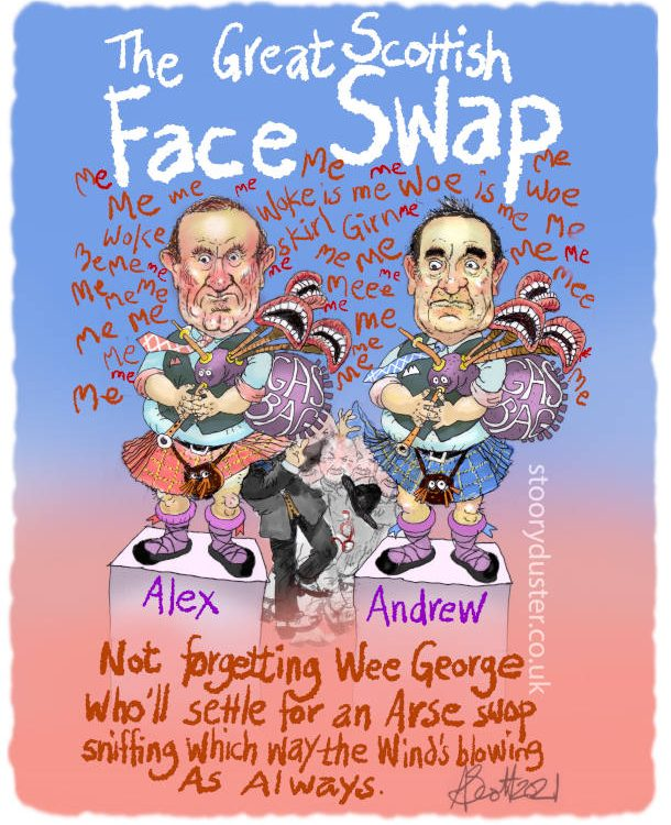 Andrew Neil and Alex Salmond playing bagpipes with George Galloway back and forth under their kilts.