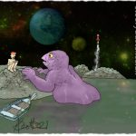Naked Earth-man on an island on an alien world talking to a half submerged giant naked alien.
