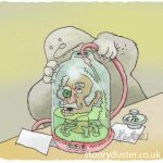 Alien filling with fluid a jar containing a preserved live human head still talking.