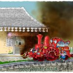 A little red engine smoking a pipe.
