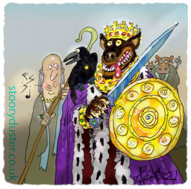 Dog in warrior golden regalia with his Royal entourage.