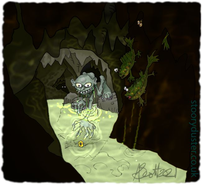 Gollum retrieving his ring from the water in the luminous cavern.